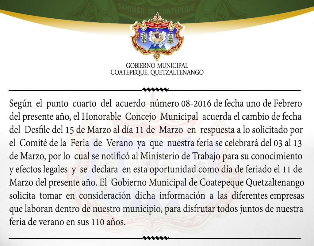 DECLARACION FERIADO 2016
